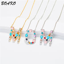 <b>BOAKO</b> Multicolor Crystal <b>Initial</b> Letters <b>Necklace</b> Women Gold ...