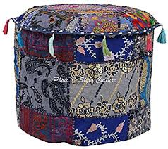 Stylo Culture Cotton Indian Navy <b>Pouffe Footstool</b> Cover Patchwork ...