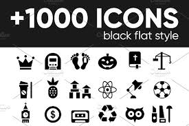 1000 black glyph flat icons basic icons flat icons 1000