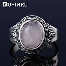 <b>GUYINKU</b> Classic 925 Sterling Silver Vintage <b>Moonstone</b> Rings For ...