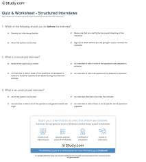 quiz worksheet structured interviews com print structured interview definition process example worksheet