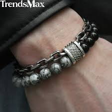 trendsmax new stretch mens bead bracelets stainless steel curb link black lava beaded bracelet jewelry for women men kdb12