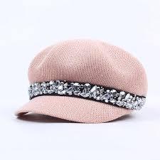 2019 Autumn Winter Women's Flat Top <b>Military Cap</b> Crystal ...