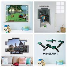 popular mosaic game minecraft wall stickers for kids bedroom home decoration vivid 3d window hole pvc mural art boys decals