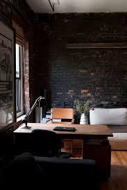 home decor interior design inspiration studio office brick wall black black white home office cococozy 5