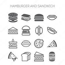<b>Бутерброд</b> иконка. Набор <b>простых</b> иконок с <b>гамбургеры</b> ...