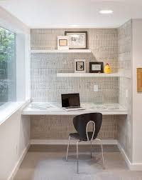 floating shelves office home office midcentury with desk alcove textured wall floating shelves alcove office