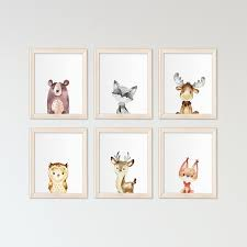 Woodland Animals Art Canvas Painting Wall Picture Nursery Decor ...