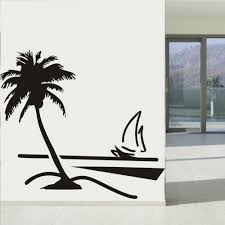 palm tree wall stickers: beach coconut palm tree sailboat wall art bathroom glass modern art mural  home decor large