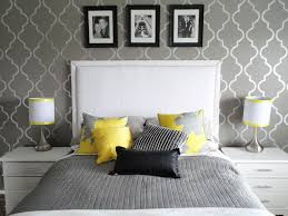 yellow and gray bedroom: stunning yellow and grey bedroom design with nice wallpaper pattern studiosaynuk