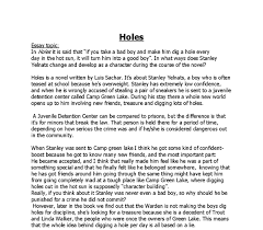 essay on  quot holes quot  by luis sachar   gcse english   marked by    document image preview