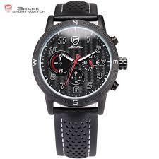 32.85$ <b>Watch</b> now - Shortfin Mens <b>Shark</b> Sport <b>Watch</b> Black Leather ...