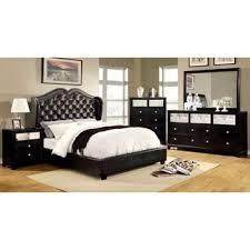furniture of america roselie 4 piece black leatherette bedroom set black bedroom furniture set