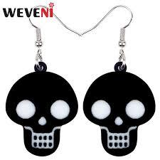 Weveni <b>acrylic</b> halloween cute black skull earrings drop dangle ...