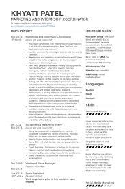 marketing and internship coordinator resume samples marketing internship resume samples