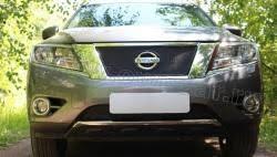 <b>Защита радиатора черная</b> для Nissan Pathfinder 2014-<b>верх</b> и низ ...