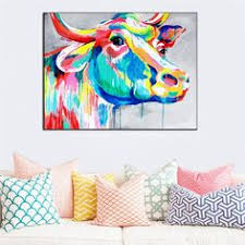 Beautiful Big <b>Paintings Handmade Wall Painting</b> Color Cow Picture ...