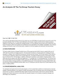 ukessays com an analysis of the tui group tourism essay