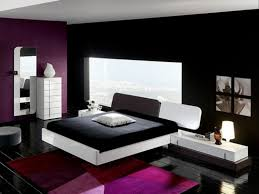 red wall paint black bed: dark red bedroom ideas long white bedside table table lamp bay window city view black and purple wall color bedroom paint black wood floor white bed frame round ottomans