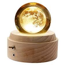 <b>Wooden</b> Music Box,3D <b>Crystal Ball</b> Music Box <b>Moon</b> Light Luminous ...