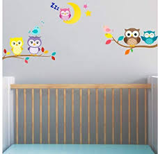 baby <b>owl</b> on branch with <b>moon</b> and birds wall stickers 5x cute <b>owl</b> ...