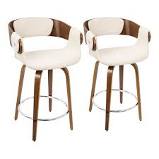 Set of 2 <b>Cream Fabric</b> Modern Style Counter <b>Stool</b> with Cushioned ...
