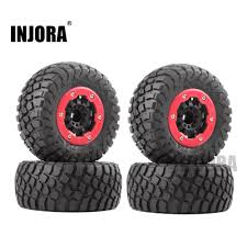 INJORA <b>4PCS RC</b> Car <b>Rubber Tire</b> & Wheel Rim Set for 1/10 Short ...