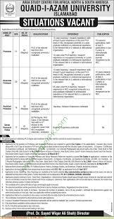 quaid e azam university islamabad jobs on  quaid e azam university islamabad jobs