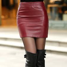 autumn and winter Fashion Casual <b>plus size real Leather</b> skirt brand ...