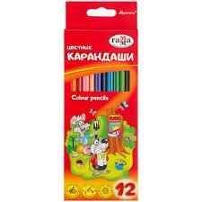 <b>Карандаши цветные Гамма Мультики</b> 12 цветов трехгранные ...