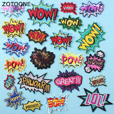 <b>ZOTOONE</b> Wow Letter Embroidery Patch <b>for</b> Clothes DIY Iron on ...