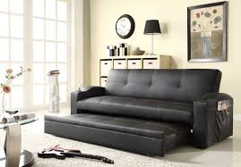 living room with bed:  originalviews  modern living room black leather pull out loveseat bed large white shag area rugs polished chrome table lamp base light wooden cube storage shelves