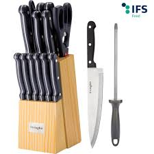 LivingKit <b>Stainless</b> Steel <b>Kitchen Knife set Cutlery Set Knife Block</b> ...
