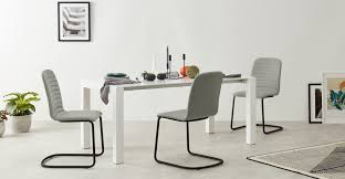 Set of 2 Cata <b>Cantilever Dining Chairs</b>, Quilted Marl Grey | MADE.com