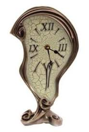 10.50 inch Warped Clock Polished Bronze <b>Cracked Eggshell</b> Face ...