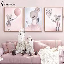 Nordic Watercolor <b>Cartoon</b> Unicorn <b>Deer</b> Rabbit <b>Girl</b> Canvas ...