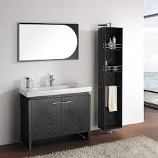 glorious black bathroom vanity with oval shaped sink and metal faucet placed under chic wall mirror captivating bathroom vanity twin sink enlightened
