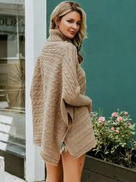 <b>Turtleneck Buttoned</b> Side Cable Knit Cape <b>Sweater</b> | SHEIN IN