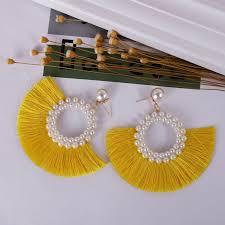 Round <b>Imitation Pearl</b> Half Circle Tassel Dangle Earrings For ...