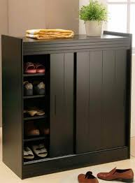 image of shoes cabinet with doors black color shoe rack storage sliding