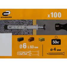 <b>Дюбель</b>-<b>гвоздь с цилиндрической манжетой</b> Standers 6 x 60 мм ...