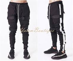Men's Hi Tech Military Cargo Pants Loose Fit Biker Banded Strap ...