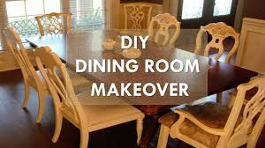 Colored Dining Room Sets Diy Dining Room Makeover Quotjust Chalk Paint Amp Fabricquot Youtube