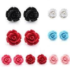 <b>1 Pair</b> Rose Flower Ear Stud Delicate Charm Resin Lady <b>New</b> ...