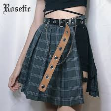 <b>Rosetic Gothic Plaid Mini</b> Skirts Women Asymmetric Patchwork ...