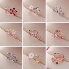 <b>2021 New Fashion</b> Crystal Zircon Rings Sweet Flower Leaf Butterfly ...