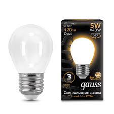 <b>Лампа Gauss LED Filament</b> Globe OPAL E27 5W 2700K - Gauss ...