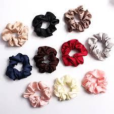 2019 <b>New</b> Solid Color <b>Silky Satin</b> Scrunchie <b>Elastic</b> Hair Bands ...