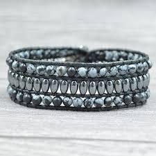New Women Men <b>Bracelet Unique</b> snowflakes agate with <b>hematite</b> ...