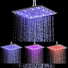 Ehauuo LED Shower Head 8 Inch Square All Chrome Water ...